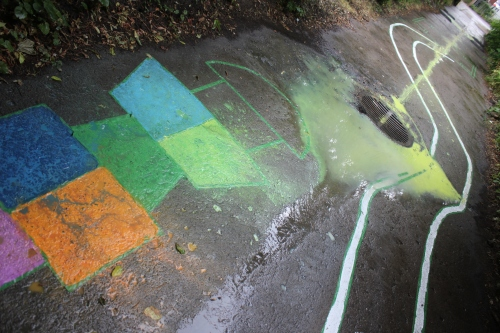 paint running down the storm drain